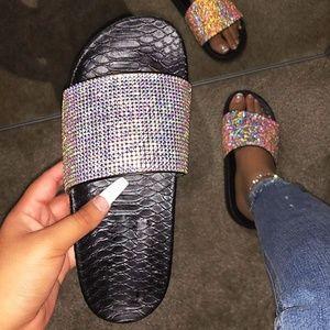 NEW🔥Rainbow AB Rhinestone Slide Sandal Flip Flops
